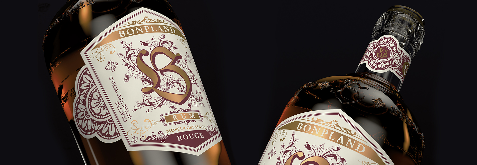 Two details shots of the Bonpland Rum Rouge bottle
